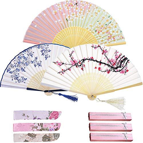 Evance Schwarz Handfächer Chinesischer Blumen Stoff Fächer Vintage Stil Damen Herren Bambus Fächer mit Geschenkbox Ideal als Hochzeit Geschenk Party Kostüm (Set B)