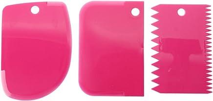 spatule de GaTEAU - TOOGOO(R)3 spatule de GaTEAU EN PLASTIQUE FONDANT CUISSON PLAIN LISSE dentelure(rouge rose)