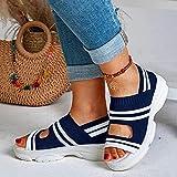 HHZY Sandalias de Cuña para Mujer Elásticos en El Tobillo Sandalias de Playa Informales Cómodas Verano Zapatillas de Deporte Transpirables con Punta Abierta para Caminar,Azul,US11/EU42
