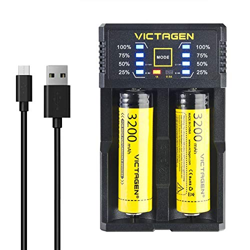 Victagen Universal Smart Charger,Intelligent Speedy Battery Charger for Rechargeable Batteries Ni-MH Ni-Cd AA AAA AAAA C LiFePO4 IMR 10440 Cylindrical Rechargeable Batteries