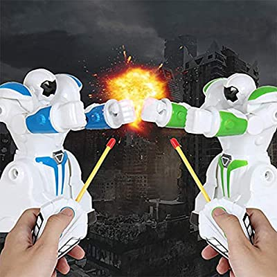 HANMUN 2PC RC Battle Boxing Robot Toys Remote Control 2.4G Humanoid Smart Fighting Robot, Two Control Joysticks Real Boxing Fight Experience Interactive Electric for Kids Birthday Gift Present