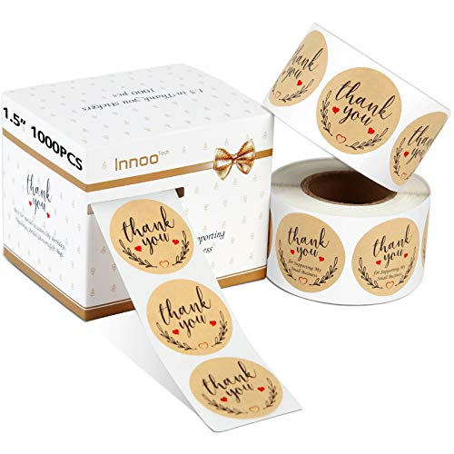 """Innoo Tech 1.5"""" Thank You Stickers Roll 1000pcs, Thank You for Supporting My Small Business Stickers, Thank You Kraft Paper Labels for Saying Thanks by Packing & Decorating"""
