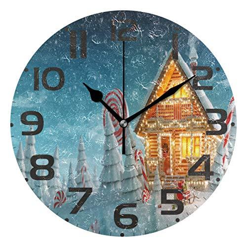 Jacque Dusk Reloj de Pared Moderno,Feliz árbol de Navidad Caramelo Nieve Copo de Nieve,Grandes Decorativos Silencioso Reloj de Cuarzo de Redondo No-Ticking para Sala de Estar,25cm diámetro