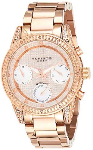 Akribos XXIV AK1038 - Reloj de pulsera para mujer con tachuelas de diamante, cronógrafo de madreperla, subesferas de fecha de día, caja de piedras de cristal, pulsera de acero inoxidable de oro rosa (Reloj)