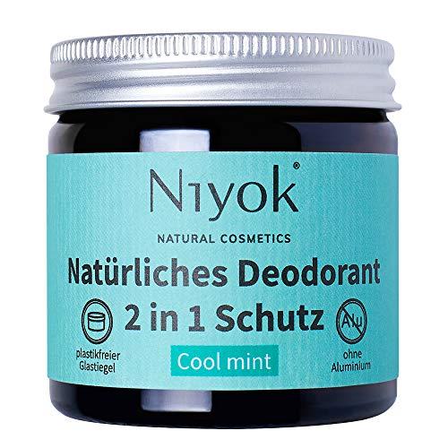 Niyok® 2 in 1 Deo ohne Aluminium Antitranspirant Deocreme Deodorant Creme | Damen | Herren gegen starkes Schwitzen aluminiumfrei - Cool mint – 40ml