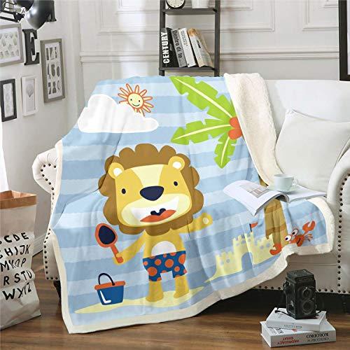 Manta de forro polar de león de dibujos animados linda manta difusa para cama, sofá, adolescentes, playa, palmera, sherpa, manta de felpa de animales salvajes, doble 60 x 79 pulgadas