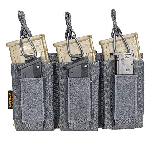 EXCELLENT ELITE SPANKER Open-Top Single/Double/Triple Mag Pouch for M4 M14 M16 AK AR Elastic Kangaroo Rifle Magazines and Pistol Mag Pouch(Grey)