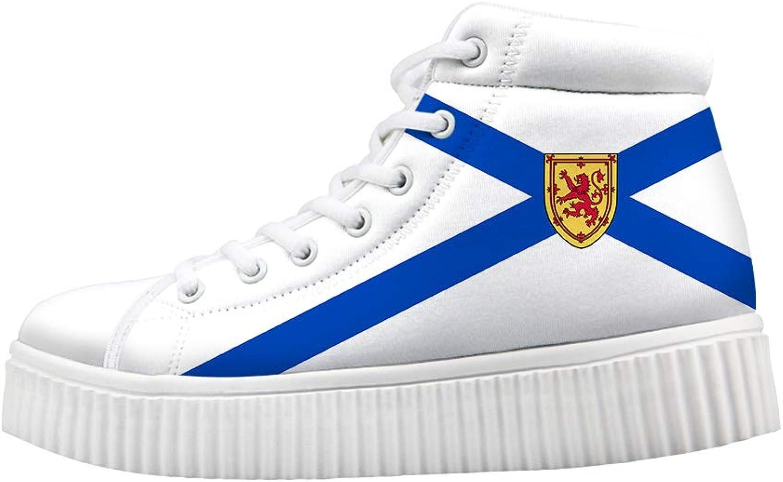 Owaheson Platform Lace up Sneaker Casual Chunky Walking shoes Women Nova Scotia Flag