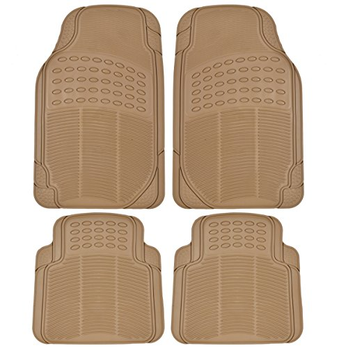 BDK Universal Fit 4-Piece Heavy Duty All Weather Protection Floor Mat - Rubber (Beige)