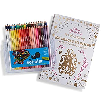 Prismacolor Scholar Colored Pencils 48 Pack and Adult Coloring Book  Art of Coloring  Disney Princess
