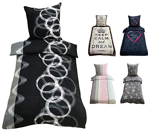 Leonado Vicenti 4 teilig Bettwäsche 135x200 cm oder 155x220 cm Mikrofaser Garnitur Set Schlafzimmer, Maße:135 x 200 cm, Farbe, Design:Kreise Antrhazit