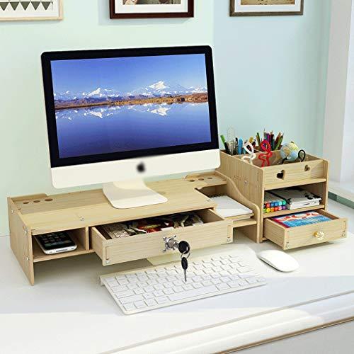 AMYAM Monitorständer,Monitor Stand, Schreibtisch Monitor Stand Riser Computer-Desktop-Organizer mit Storage Drawer 2 Tiere Schirm Riser for Drucker Laptops TV (Color : A)