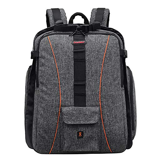 Large DSLR/SLR Camera Bag Backpack with Wheels Trolley Case Extra for Outdoor Hiking Trekking with 15.6 Compartment for Laptop, grey, size