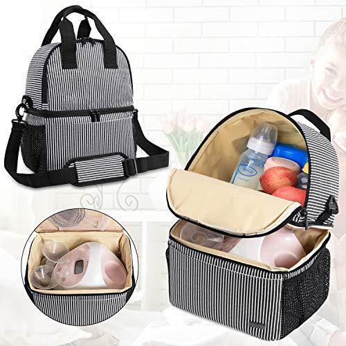 Teamoy zak voor melkpomp borstpomp met dubbele laag koeler en lekvrije vakken voor melkpompen en moedermelkflessen, ideaal voor werkende, stilstaande moeders