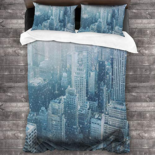 Duvet Cover Set 3 PCS,Snow In New York City Image Skyline With Urban Skyscrapers In Manhattan United States,Bedding Duvet Cover with 2 Pillowcases(Single 135x210cm)