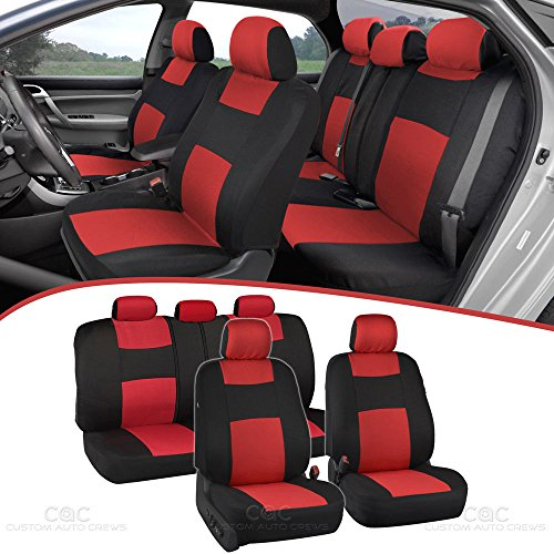 BDK PolyPro Car Seat Covers, Full Set in Red on Black – Front and Rear Split Bench Protection, Easy to Install, Universal Fit for Auto Truck Van SUV