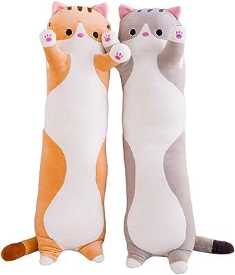 抱きまくら ねこ縫い包み 可愛い もこもこ 添い寝 抱き枕 猫おもちゃ 柔らかい 多機能 横向き寝 洗える 癒し系 デスク/昼寝まくら プレゼント かわいい ふわふわ 特大 グレー 130cm