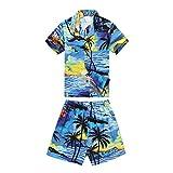Palm Wave Camisa Hawaiana de Aloha Luau del Muchacho Solamente en Puesta del Sol Azul 16 Años