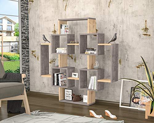 Homemania Libreria Gant, Legno, Grigio-Rovere, 123,6x22x123,6 cm
