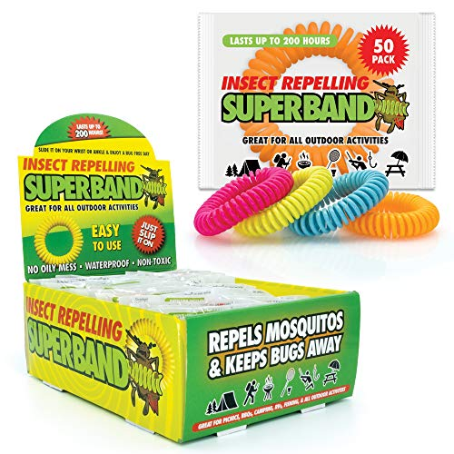 SUPERBAND Neon Mosquito Repellent Bracelet (50 Pack) - for Kids & Adults - Natural Insect & Bug Repellent Band - DEET Free & Waterproof - Individually Wrapped - One Size Fits All - (Pack of 50)