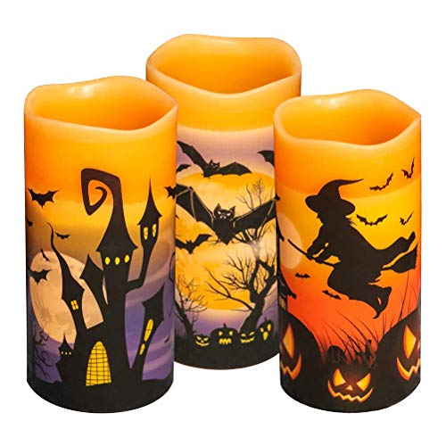 Ibesecc 3 pcs Halloween Flameless Flickering LED Candles Battery Operated Carnival Candle Light with 6-Hour Timer