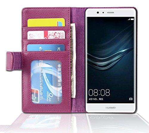 Cadorabo Funda Libro para Huawei P9 Lite en Burdeos Violeta - Cubierta Proteccíon con Cierre Magnético e 3 Tarjeteros - Etui Case Cover Carcasa