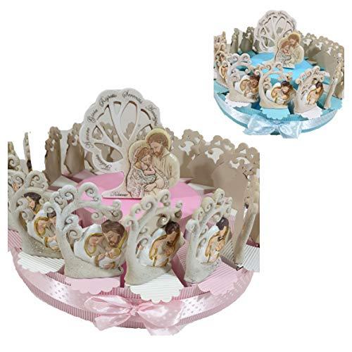 Torta Bomboniere battesimo sacra famiglia albero della vita, centrale e confetti (Torta 18 fette azzurro)