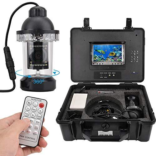 Onderwaterviscamera, 360 graden draaibaar, met 7 inch monitor, 1000 TVL videocamera, 20 m kabel, 7000 mAh accu, 18 ledlampjes voor vissen op ijs, op zee en bij boot, EU.