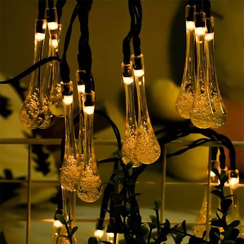 Cadena De Luces Solares Para Exteriores, Lámpara Solar De 50-200 LED Con Control Remoto, Con 8 Tipos De Luces De Hadas Intermitentes a Prueba De Agua Aptas Jardín Bodas Patio De Navidad,Warm white,22M