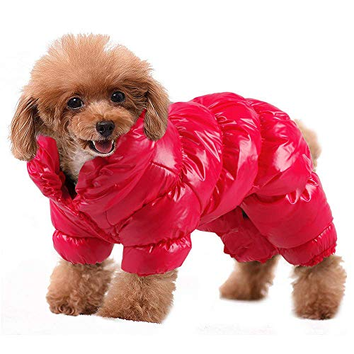 Winter Dog Clothes Puppy Pet Cat Vest Snowsuit Coat for Small Dogs, Waterproof Dog Jumpsuit Puffer, Soft Warm Fleece Lined Pet Apparel Clothing for Chihuahua Poodles French Bulldog (M, Red)