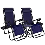 LAJOSON Zero Gravity Chair with Side Table Cup Holder, Set of 2, Reclining Outdoor Sun Loungers, Adjustable Recliner Chair for Patio Garden Beach Pool Camping, Blue