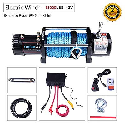 OCPTY Winches Waterproof Offroad 13000 lbs Load 12V Electric Winch