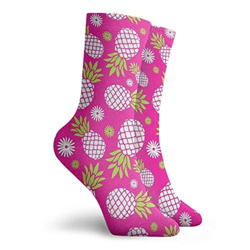 NGMADOIAN anananantivrieshoeken en madeliefjes herhalen patroon schilderij Svetlana Novikova Athletic Long Crew sokken voor mannen en vrouwen 11,8 inch
