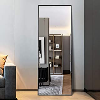 MIRRORCC Aluminum Alloy Thin Frame Full Length Mirror Floor Mirror, Large Rectangle Dressing Mirror Wall-Mounted Mirror Bedroom Mirror, Standing Hanging or Leaning Against Wall, Black, 65