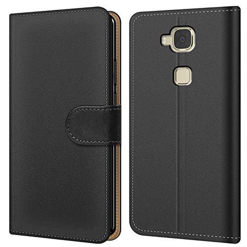 Conie BW8567 Basic Wallet Kompatibel mit Huawei G8, Booklet PU Leder Hülle Tasche mit Kartenfächer & Aufstellfunktion für G8 Hülle Schwarz