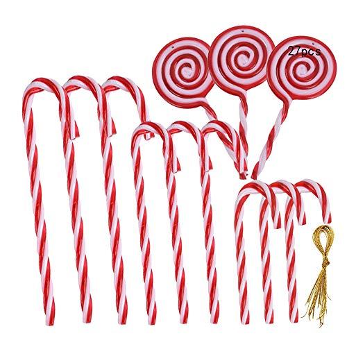 Anyingkai 27Pcs Bastones Caramelo Navidad,Bastones de Caramelo Adorno,Bastones Navidad Arbol,Candy Cane Navidad,Bastones de Caramelos de Navidad,Bastón de Navidad,Bastones de Caramelos