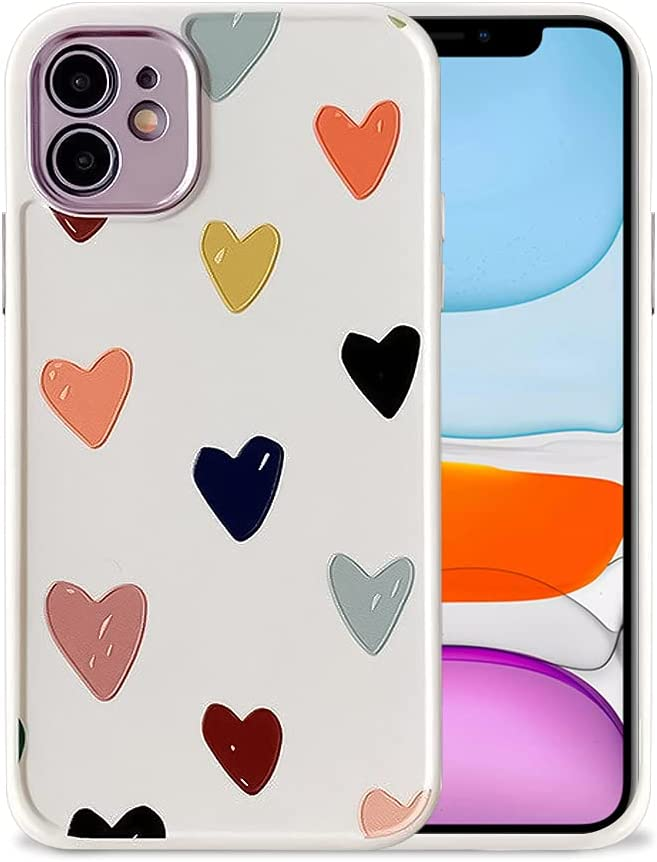 Ownest Compatible with iPhone 11 Case for Heart Cute Pattern Frosted Floral Girls Woman and Silicone Bumper Protective Slim Shockproof Case for iPhone 11- Heart