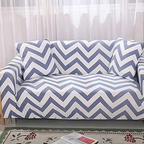 Qier Sofabezug Stretch Slipcover Möbelschutz, Universal Armchair Kissen Sofa, Spandex Elastic Chaise Corner Cover, Bunt Geometrisch, Schwarz, 2-Sitzer 57,72 Zoll