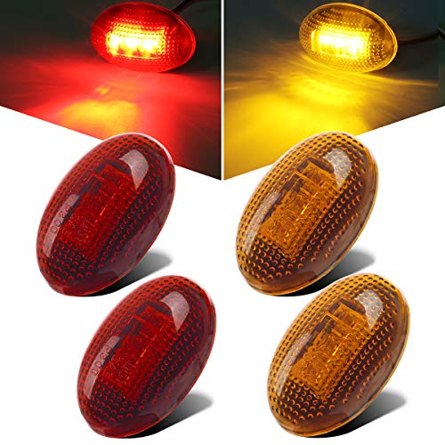 Partsam 2X Amber + 2X Red Side Fender Marker Assembly Replacement for Ford F350 F450 F550 1999-2010 Super Duty Full Kit Dually Bed Led Fender Side Marker Lights Aftermarket Front Rear w/ T10 Plug