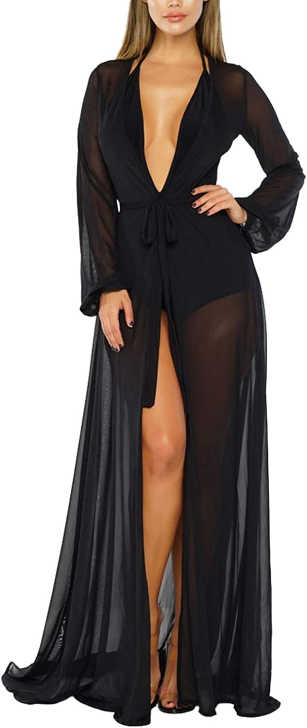 Sovoyontee Women's Sexy Thin Mesh Long Sleeve Tie Front Swimsuit Swim Beach Maxi Cover Up Dress