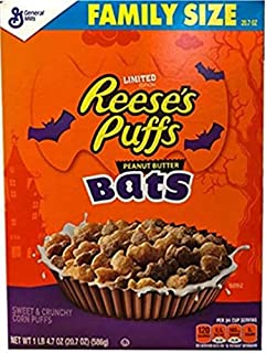 General Mills Limited Edition Reese's Puffs Halloween Peanut Butter Bats! Family Size 20.7 Oz