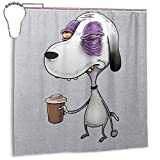 GSEGSEG Wasserdichter Polyester-Duschvorhang Snoopy Before Coffee Peanuts-Druck, dekorativer Badezimmer-Vorhang mit Haken, 182,9 x 182,9 cm