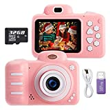 KUMUKA Kids Camera for Girls 8.0MP Child Camera with 2.4 Inch Screen and 32GB Memory Card, Rechargeable Children Camcorder for Girls Boys Gift, Support Flashlight/Video Recording/Playback (Pink)