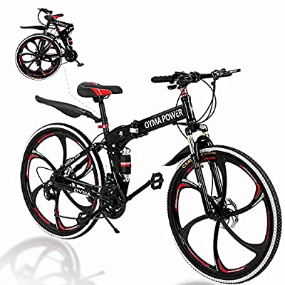 2020 New Folding Bike 21 Speed 26 in Mountain Bike with Double Disc Brake and High Carbon Steel Dual Suspension Frame for Adult Teen Black