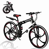 26 Inch Folding Mountain Bike 21 Speed 6 Spoke Double Disc Brake Bicycle Folding Bike for Adult Teens Bicycle Full Suspension MTB Bikes Black