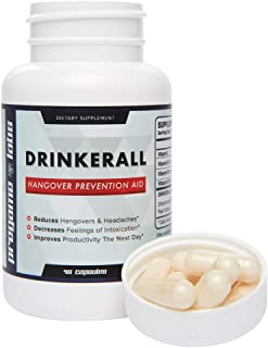 DRINKERALL - #1 Hangover Cure   Scientifically Proven Hangover Prevention Pills   with DHM, NAC, Prickly Pear, B-Vitamins   Guaranteed 80% Reduction - Anti-Hangover Remedy