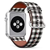 Compatible with Small Apple Watch 38mm & 40mm - (Series 5, 4, 3, 2, 1) Leather Watch Wrist Band Strap Bracelet with Stainless Steel Clasp and Adapters (White Black Lumberjack Plaid)
