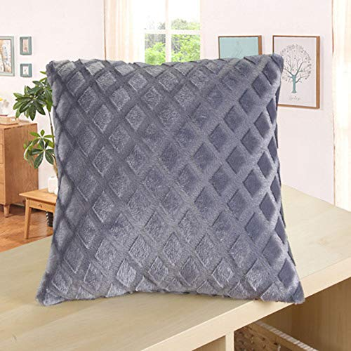 Lindsayii Velvet Square Decorative Pillow Covers, Soft Solid Cushion Covers Rhombus Texture Throw Pillow Cases for Bed Sofa Couch Bench (Gray, 1 PC)
