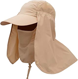 AMAZACER Fishing Hat 360°UV Protection Sun Hat Removable Neck and Mask Summer Cap (Color : Khaki)