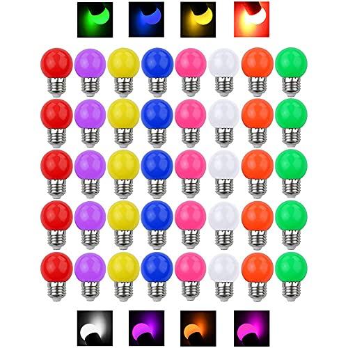 40 Pack - 3W LED Bombillas de Colores E27 Casquillo Gordo 3W 240Lm 220V-240V AC Bombillas LED Multicolor Vistoso LED Lámpara Luz Ambiente para Hogar, Decoración, Bar, Fiesta, KTV